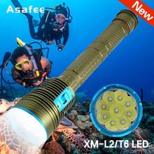 Powerful 8000Lumens LED Flashlight Lantern Tactical Military Led Dive Torch 9x XM-L2 Diving Light 18650 Underwater Video Lamp