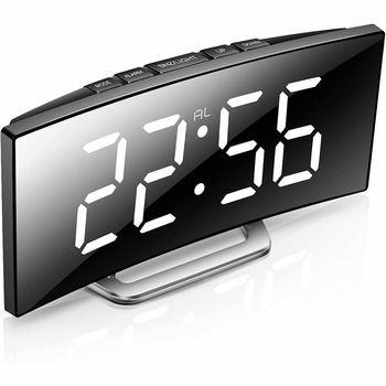 Cyfrowy budzik zegar biurkowy zakrzywiony ekran LED budziki dla dzieci sypialnia temperatura z funkcją drzemki Home Decor tanie i dobre opinie CN (pochodzenie) SQUARE 170mm DIGITAL 260g Zegarki z alarmem Kalendarze Z tworzywa sztucznego Nowoczesne Funkcja drzemki
