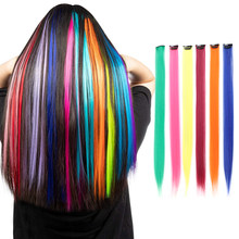 Extensions capillaires synthétiques longues et lisses, mèches colorées sur épingles à cheveux, faux Clips, faux brins arc-en-ciel