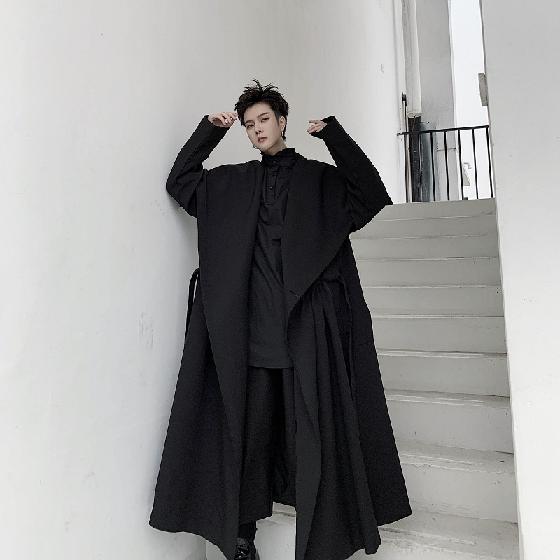 Men Japan Street Dark Black Style Big Collar Trench Coat Outerwear Male Long Lace Belt Cardigan Jacket Windbreaker Overcoat