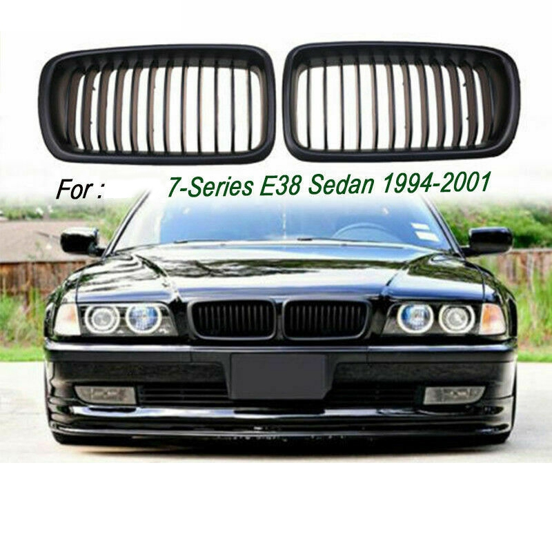 Front Hood Kidney Grill Grille for <font><b>BMW</b></font> <font><b>E38</b></font> <font><b>7</b></font> <font><b>Series</b></font> 740I 740IL 750IL (Matte Black) image