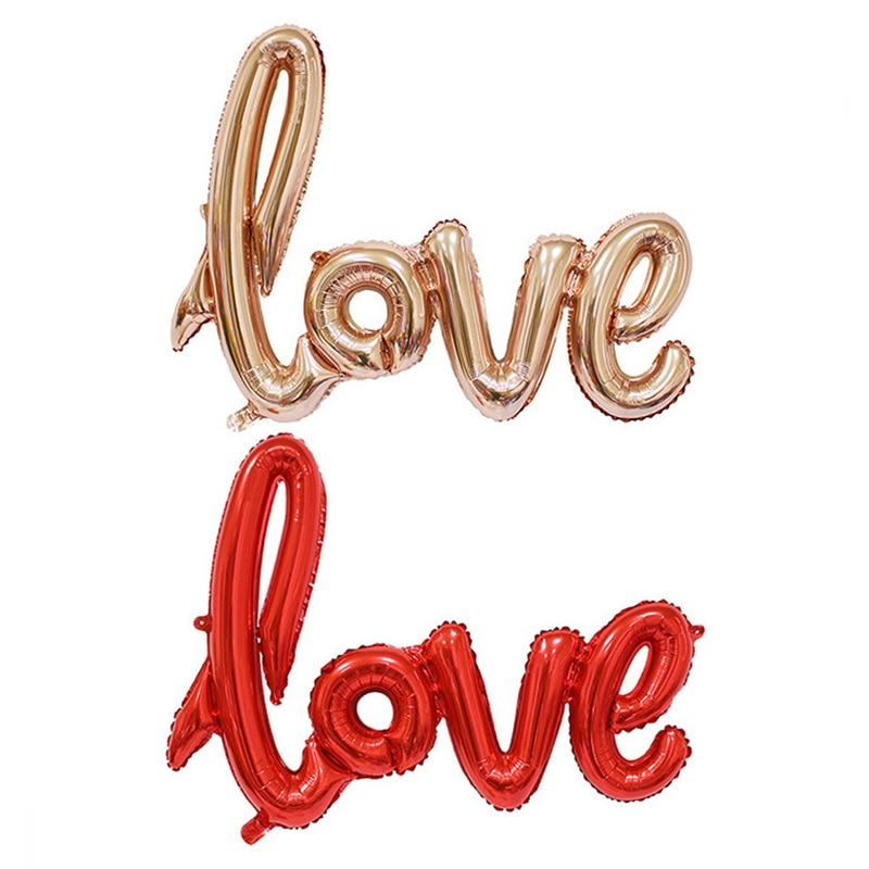 Globo de amor de aluminio de 108x64cm, globo de helio dorado, plateado, rojo y rosa para enamorados, fiesta de cumpleaños, decoración de San Valentín