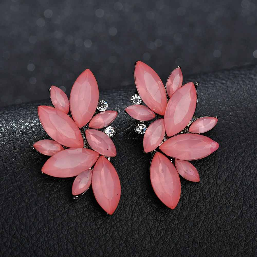 VOHE Women's Fashion Crystal Earrings Rhinestone RED / Pink Glass Resin Metal Leaf Ear Earrings For Girl Jewelry