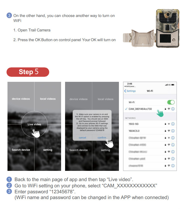 Wifi câmeras de caça 940nm app vigilância