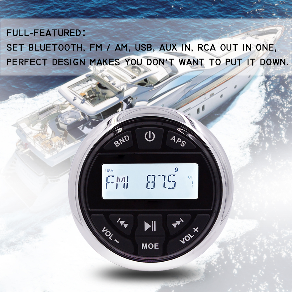 Waterproof Marine Audio Bluetooth Stereo Radio FM AM Receiver Outdoor Media Car MP3 Player For Boat ATV UTV RV Tractor Motorcycl image