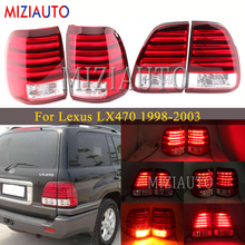 1 Pair LED Rear tail lights For Lexus LX470 1998-2003 Stop Brake Light Rear Bumper Turn Signal lamp Stop Fog DRL lamp mzorange 2pcs led rear bumper reflector light tail brake stop drl fog light lamp for toyota land cruiser for lexus lx470 lantern