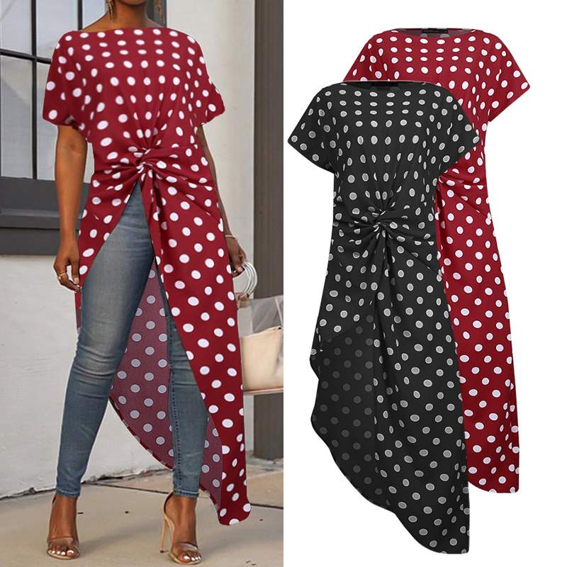 Women's Asymmetrical Blouse ZANZEA Elegant Printed Summer Tops Polka Dot Short Sleeve Blusas Female High Split Tunic Plus Size