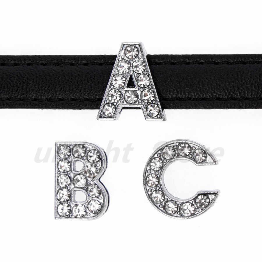 Letra de alfabeto inglés A-Z de plata con diamantes de imitación, 1 unidad, diámetro interno: 10mm, abalorios de letras deslizantes compatibles con llavero DIY, Collar para mascota
