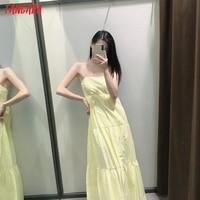Tangada Women Solid Yellow Cotton  Long Dress Strap Sleeveless Side Zipper 2021 Fashion Lady Elegant Dresses Vestido 3H319 2