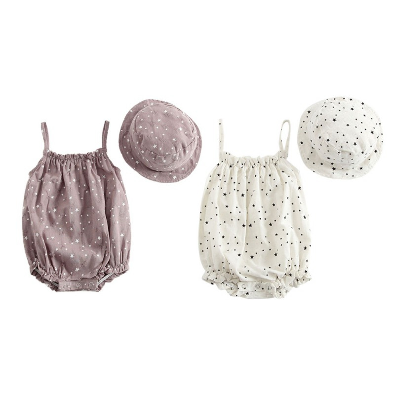 2PCS New Summer Cotton Star Pattern  Cute Baby Bodysuit Triangle Baby Girl Clothes Give A Hat O
