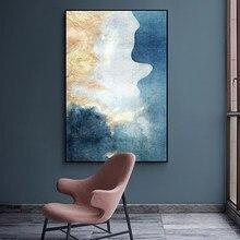 Pintura abstracta moderna en lienzo de colores de ensueño póster dorado de moda e impresión para sala de estar Asile dormitorio pared arte La imagen HD
