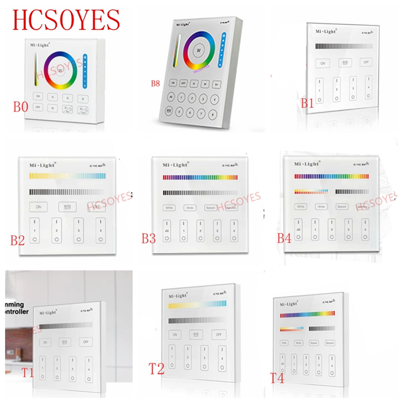 Milight B0 B1 B2 B3 B4 B8 T1 T2 T3 T4 2.4GHZ 4-Zone 8-Zone WIFI Wireless Touch Smart Panel Remote Controller Dimmer/RGBW/RGB+CCT