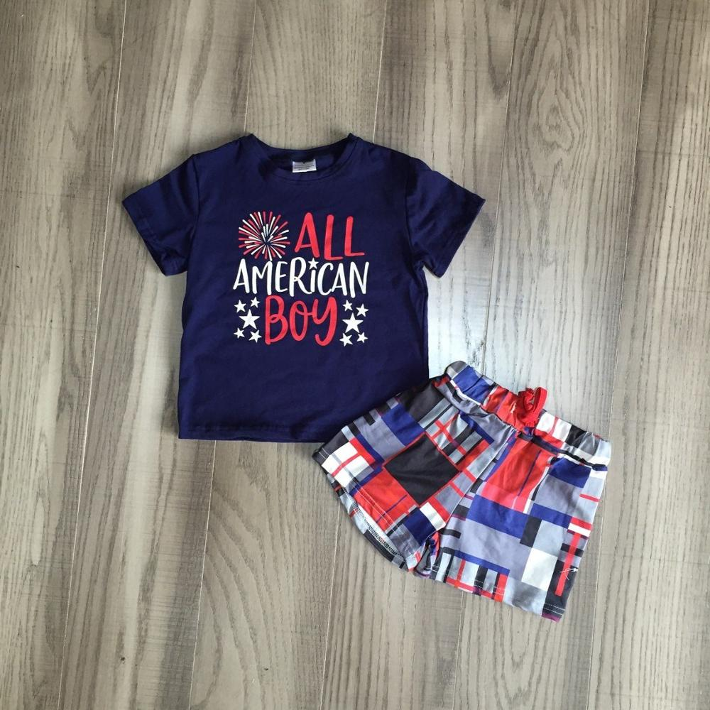 Baby Boy Summer July 4th Outfit Boys American Boy Shirt With Plaid Shorts Baby Children Independence Day Clothing