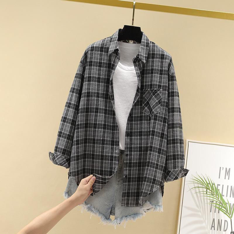 Women Spring Summer Style Blouses Shirts Lady Casual Long Sleeve Turn-down Collar Plaid Printed Blusas Tops ZZ0750 8