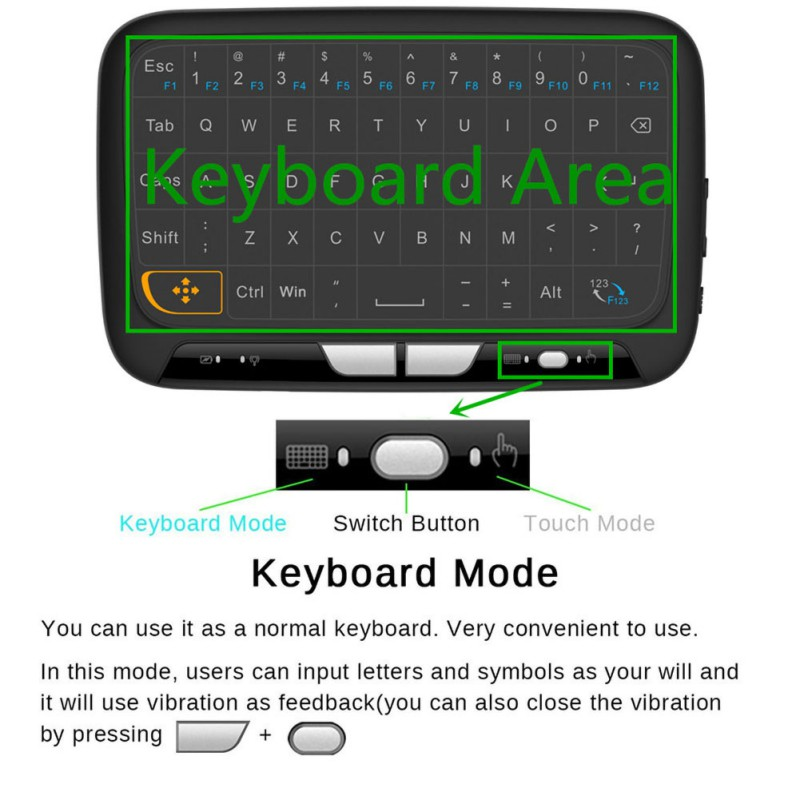 mini black H18 Mini Wireless 2.4GHz Keyboard Air Mouse Large Full Screen Touchpad USB Black New (5)