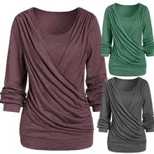 Women's Sexy Blouse New Plus Size Cotton Crossed Solid Color Long Sleeve V-Neck Pullover Autumn Winter Fashion Casual Tops#D(China)
