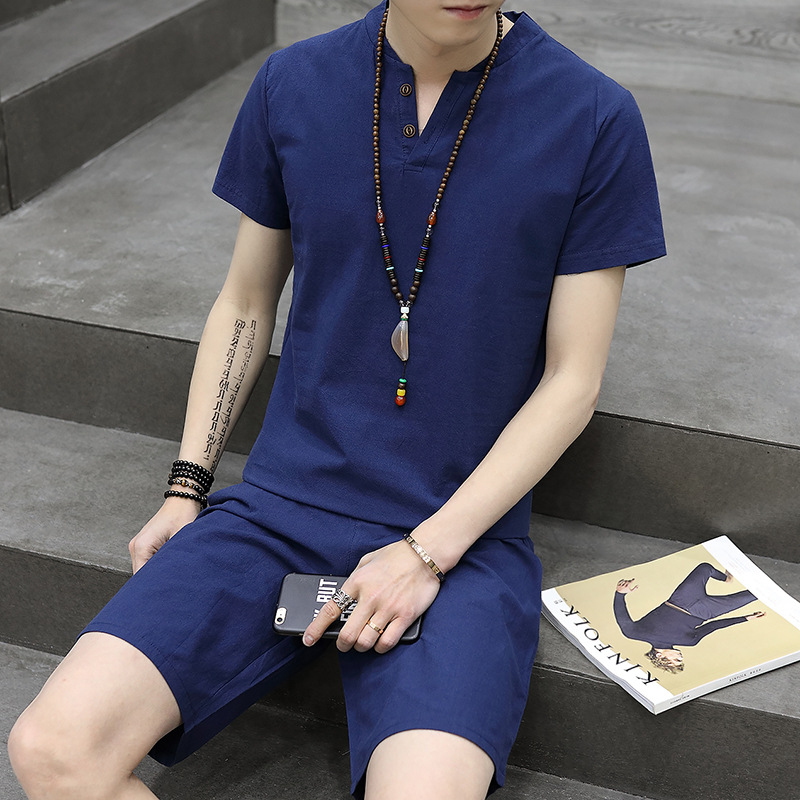 2019 Flax Short Sleeve T-shirt MEN'S Suit Youth 2-Button Solid Color Tops Shorts Casual Two-Piece Set