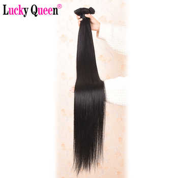Lucky Queen Brazilian Straight Human Hair Bundles With Frontal 13x6 Lace Frontal With 30 Inch Bundles Remy Human Hair Extension