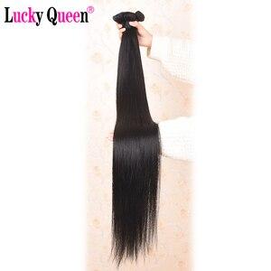 Image 4 - Mèches brésiliennes Remy lisses Lucky Queen, avec Lace Frontal 13x6, 30 pouces, extensions de cheveux naturels
