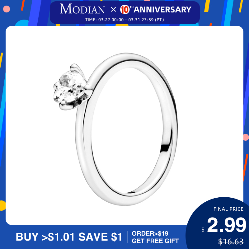 Modian Minimalism Clear CZ Heart Finger Ring For Women 925 Sterling Silver Wedding Engagement Statement Fashion Fine Jewelry