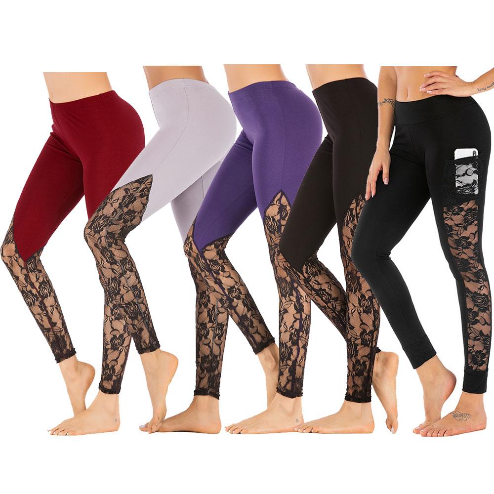 2019 Womens Mesh Lace Push Up Yoga Pants Non See-Through High Waist Tummy Control 4 Way Stretch Gym Slim Seamless Leggings