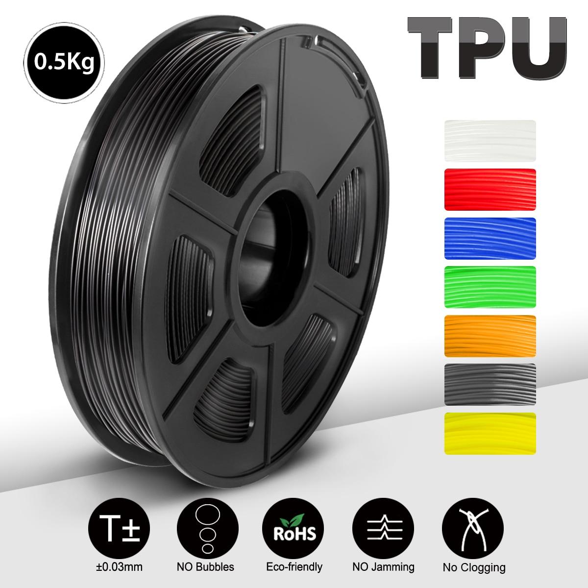 SUNLU 3D הדפסת נימה שחור גמיש TPU נימה 1.75mm 0.5kg(1.1LB) ממדי דיוק +/- 0.02 MM החוף 95A