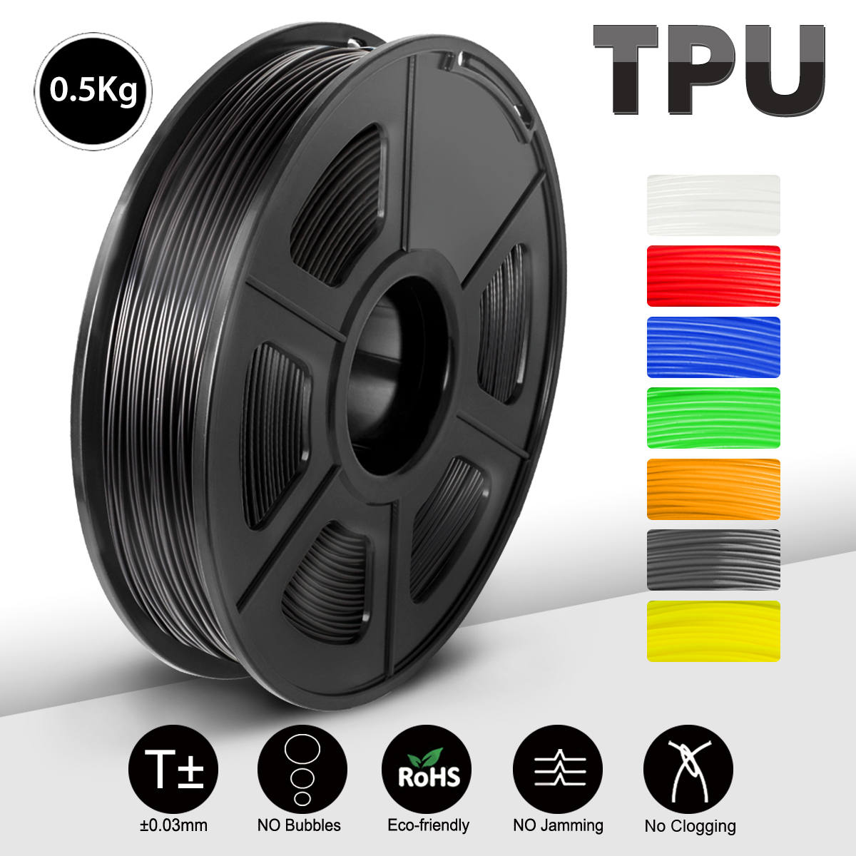 SUNLU 3D 인쇄 필라멘트 검정색 유연한 TPU 필라멘트 1.75mm 0.5kg(1.1LB) 치수 정확도 +/- 0.02 MM 쇼어 95A