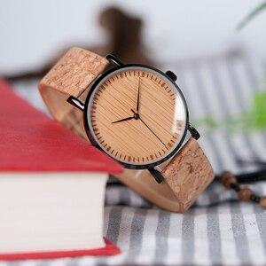 Image 2 - BOBO BIRD Ultra Thin Metal Male Watch Men Women Ladies Simple Quartz Wristwatches Cork Band relojes para mujer Dropshipping