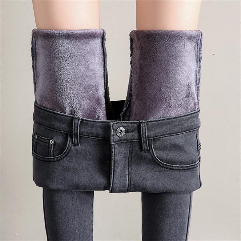 Women Winter   Jeans   Female High Tail Denim Skinny Warm Fat   Jeans   Mujer Plus Size Fluvials Broek Women Stretch Broek Femme CM1044