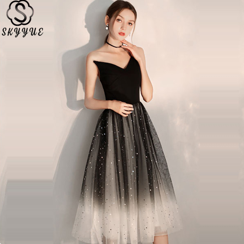Skyyue Cocktail Dress One Shoulder Sleeveless Sequined Black Cocktail Dress Pleat Knee-Length Crepe Robe Cocktail Gown E707 фото