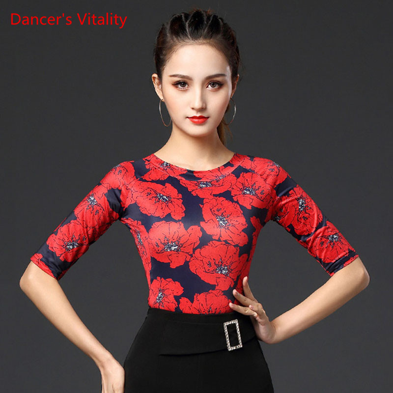Latin Dance Performance Shirt New Female Adult Print Tops National Standard Ballroom Dancing Practice Clothing Round Neck
