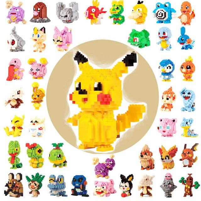 Mini blocs dessin animé Pikachue animaux en plastique construction modèle Kits jeux éducatifs figurines Micro briques enfants jouets pour enfants