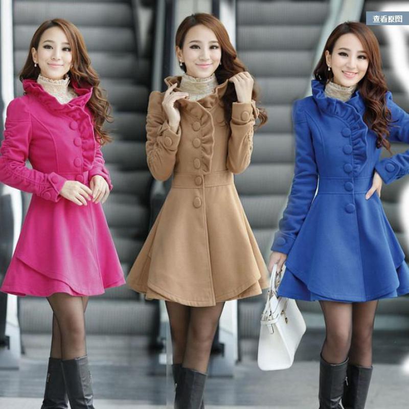 Plus Size2019 Autumn Woolen Coat Fashion Windbreaker Jacket Women Self-cultivation Lotus Leaf Lace Long  Coat Outwear Female 3XL