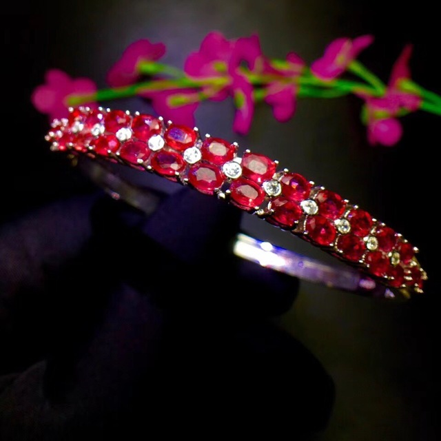 Natural ruby bracelet, hot quality, beautiful color, 925 sterling silver, adjustable size