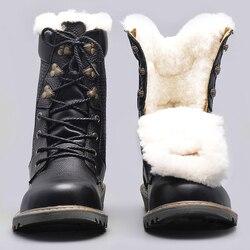 Zapatos de invierno de lana Natural para hombre Botas de invierno de nieve hechas a mano de cuero genuino para hombre # YM1568