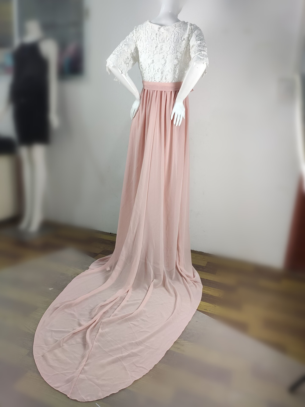 Lace Maternity Dress Photography Long Pregnancy Shoot Dresses Elegence Maxi Gown Photo Prop For Pregnant Women Baby Shower Dress (6)