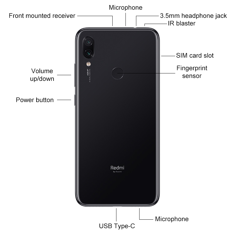 "Global ROM Xiaomi Redmi Note 7 4GB RAM 64GB ROM Smartphone Snapdragon 660 Octa Core 48MP AI Dual Camera 6.3"" Full Screen 4000mAh"