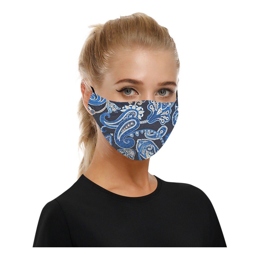 #H30 1pc Cotton Blue Print Mouth Face Mask Anti PM2.5 Dust Mouth Mask Cotton Fabric Face Mask Washable