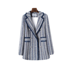 Autumn Spring Sleeve Jacket Coat Women Outwears Plaid Tweed Skirts Suit Women Suits Beading Striped women blazers and jackets