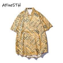 AFineSTH Amerikaanse Casual Paar Shirt brief Gedrukt Mannelijke En Vrouwelijke Strand Turn down Kraag Zomer Shirt Single Breasted Korte