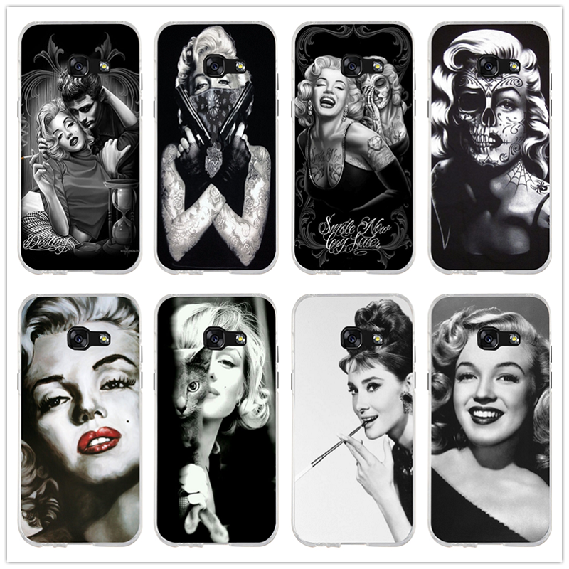 Soft TPU Silicone Phone Cases Bags For Samsung Galaxy J1 J2 J3 J5 <font><b>J7</b></font> A3 A5 A7 <font><b>2016</b></font> 2017 Cover Fashion <font><b>Sexy</b></font> Girl Marilyn Monroe image