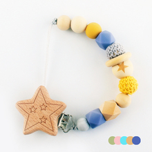 Baby Pacifier Chain Elephant Star Flower Heart Shape Wooden Clips Pacifier Clips Silicone Wood Beads Dummy Clips Baby Feeding
