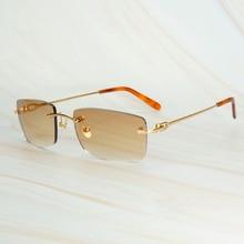 Vintage Mens Sunglasses Brand Designer Luxury Rimless Sun Gl