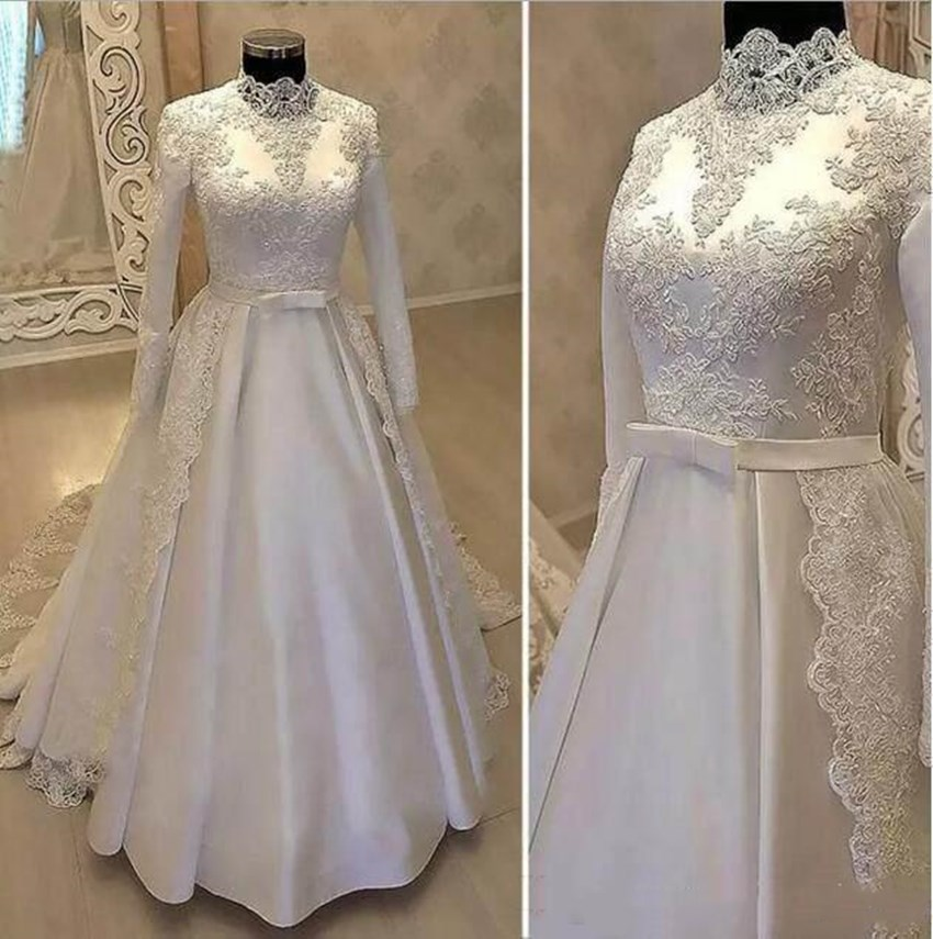 Luxury Muslim Wedding Dress White Lace Appliues Dercation High Neck Long Sleeve Robe De Mariage Arabic Bridal Dress