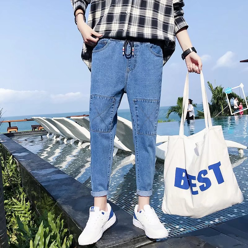 2019 Spring And Summer New Style Jeans Men's Korean-style Trend Slim Fit Pants Versitile Fashion Teenager Capri Pants Sub-