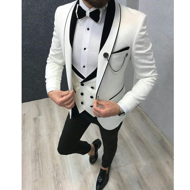 White Tuxedos Double Breasted Vest 3 Pieces Men's Suits For Wedding Cusotm Groom Suits Wedding Tuxedos Suits Jacket+Pants