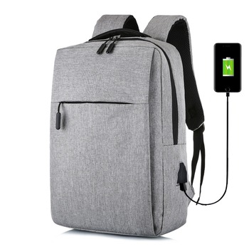 Solid Color Leisure Business Men USB Charging Backpack 15.6 Inch Laptop Computer Bagpack Youth Travel Bag Plecak Male Packbag 2018 new oiwas laptop business backpack lightweight waterproof traval backpack solid color two colors for male bag