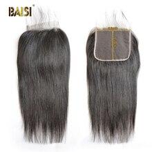 BAISI Saç Perulu Bakire Saç Sapıkça Düz Dantel Kapatma 4x4 Bebek Saç 100% Insan Saçı
