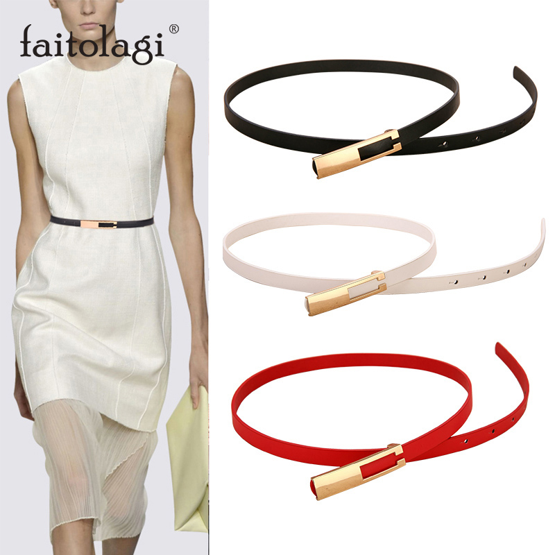 Metal Buckle Ladies Belts For Dresses High Quality Leather Thin Female Waist Belt Straps Black White Belt Waistband For Women