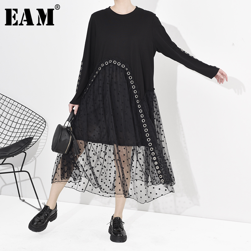 [EAM] Women Dot Prinetd Mesh Split Big Size Dress New Round Neck Long Sleeve Loose Fit Fashion Tide Spring Autumn 2020 1S807